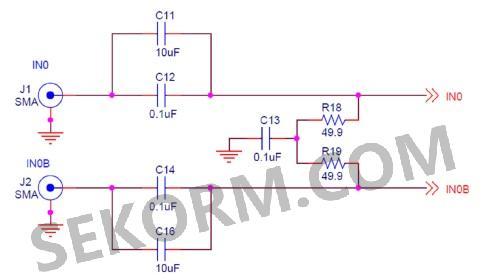 时钟输入接口电路采用差分输入接口,进行ac耦合,50欧姆阻抗匹配