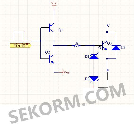 由推挽功率放大电路,驱动电阻,tvs管,续流二极管构成驱动电路,其中q1