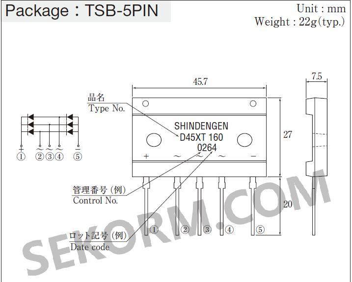 图1  d45xt160桥式整流二极管的封装示意图