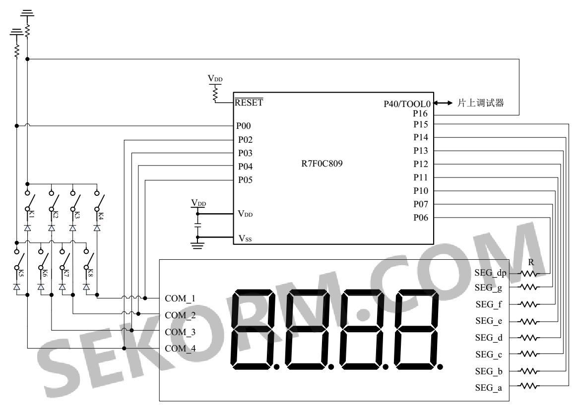 定时器阵列单元0(tau0)通道0用于控制数码管com端口定时切换,通道1