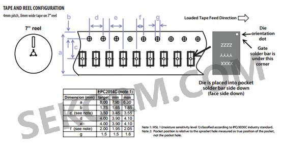 epc2014c系列增强型功率晶体管尺寸图,电路图,连接盘模式和封装结构