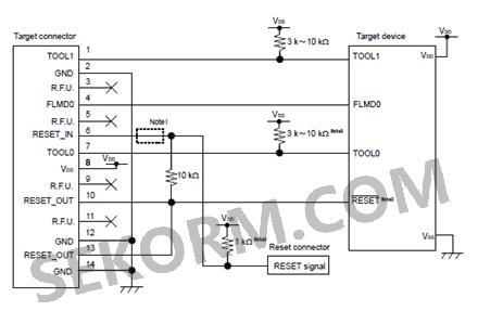 upd78f1828为例,e1下载器,minicube2下载器与芯片电路板的连接线路