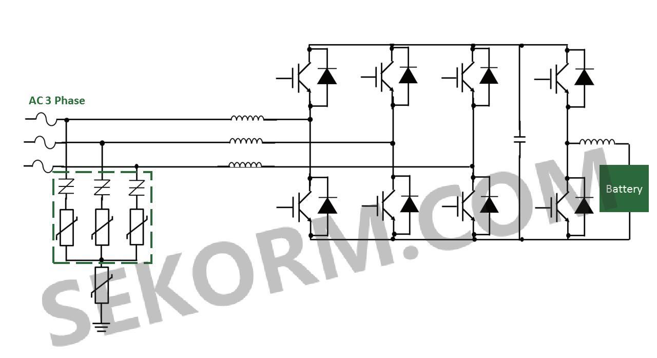 太阳能电池板产生的电流由高压开关mosfet调节到所需的交流电流.