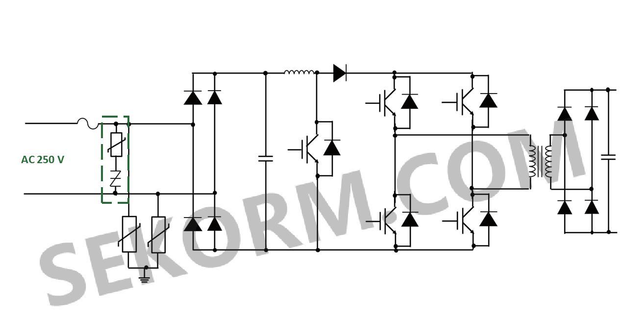 图九 ev/hev直流充电器浪涌保护3相交流电源线(左)