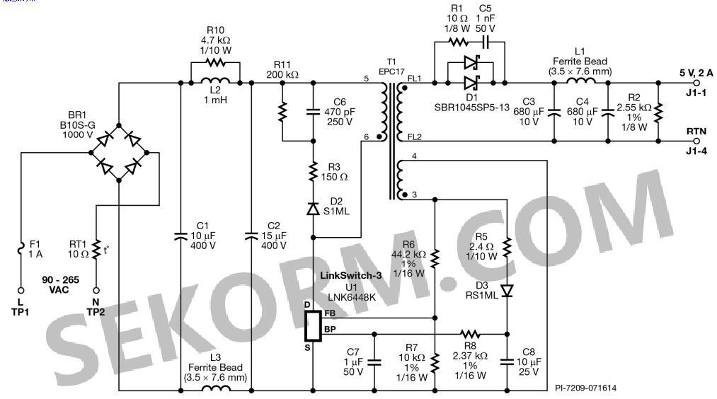 电源基于pi lnk6448k开关电源芯片,拓扑采用的反激式,原边反馈,5v隔离