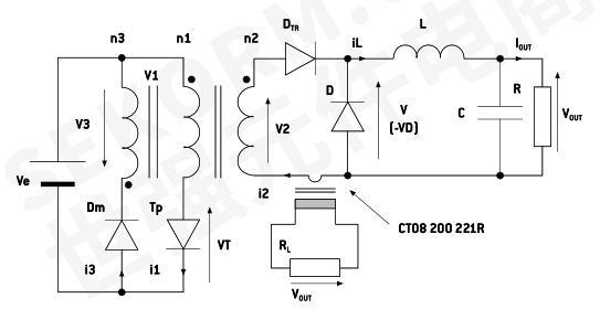 图2 ct08 200 221r测量dc/dc正激转换器的二次电流应用图