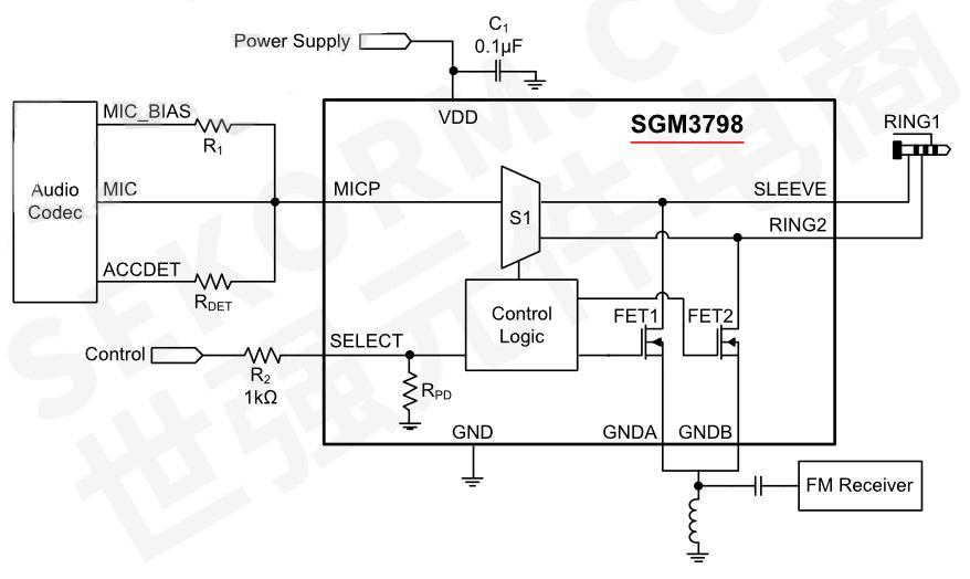 图1 sgm3789音频耳机模拟开关典型应用电路