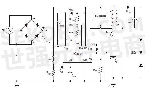 该准谐振控制器的典型应用电路如图3所示,主要应用于白炽灯更换,固态