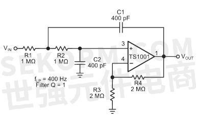 图2 ts1001轨到轨运算放大器典型应用电路