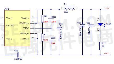 开关电源输出的正极经过滤波电感输出 15v,电解电容c20,c21,电感l5和