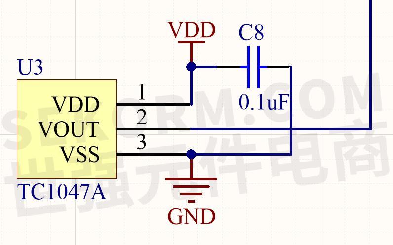 温度检测电路的原理图较为简单,tc1047a一共就3个引脚,使用4.