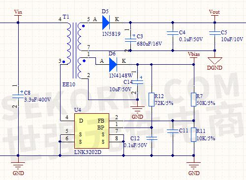 电路,开关电源芯片lnk3202d将反馈脚fb电压值作为内部mos管开关的依据