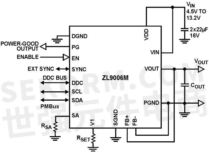 zl9006m降压型同步数字电源模块典型应用电路框图