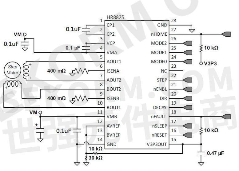 均可提供精确的细分,且hr8825内部的同步整流控制电路能够改善功耗,且