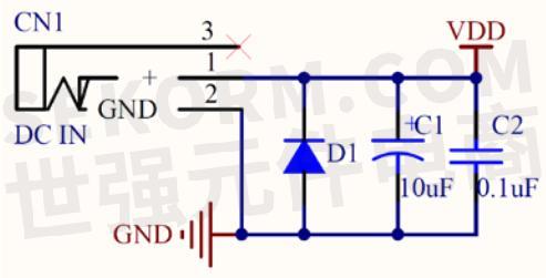 全桥整流后,电源通过串联一个7805稳压器输出5v dc.