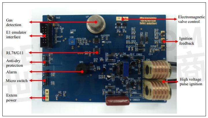 电路实物图如图2所示: mcu主控电路  高端燃气灶使用rl78 / g11(r5f1