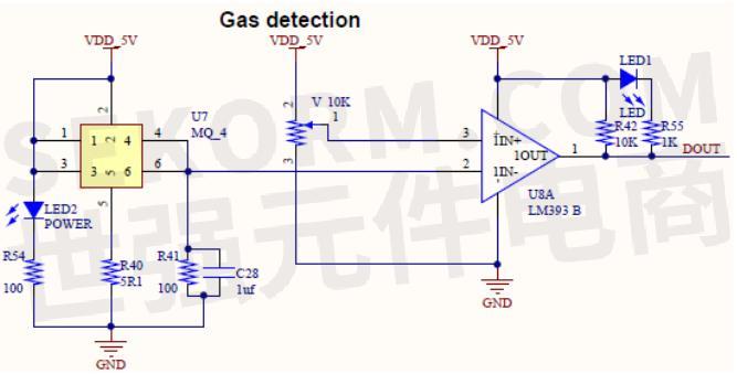 高端燃气灶的气体检测电路由mq-4气体检测传感器和lm393b电压比较器