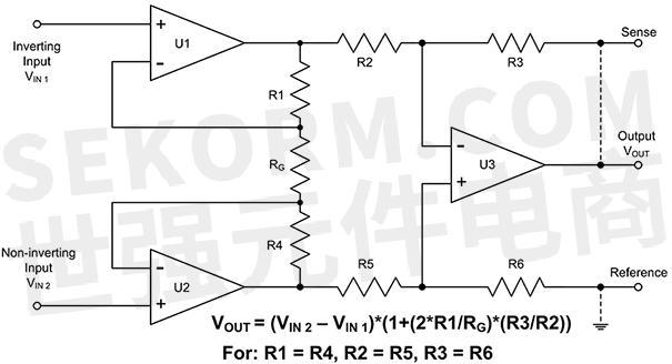 在该电路配置中,放大器u1和u2是非反相输入缓冲器.