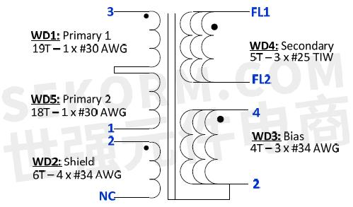 变压器设计规格如下