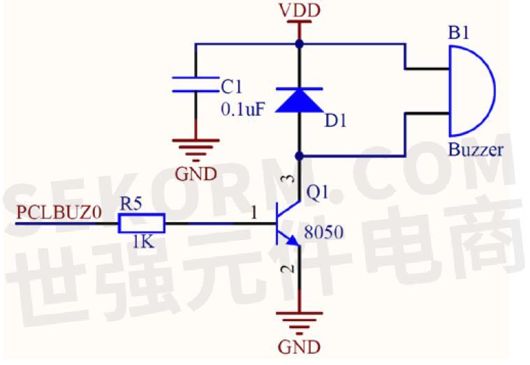蜂鸣器驱动电路原理图