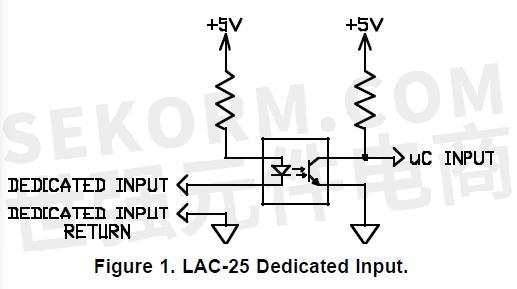 图3 双轴控制器 lac-25 隔离输入原理图