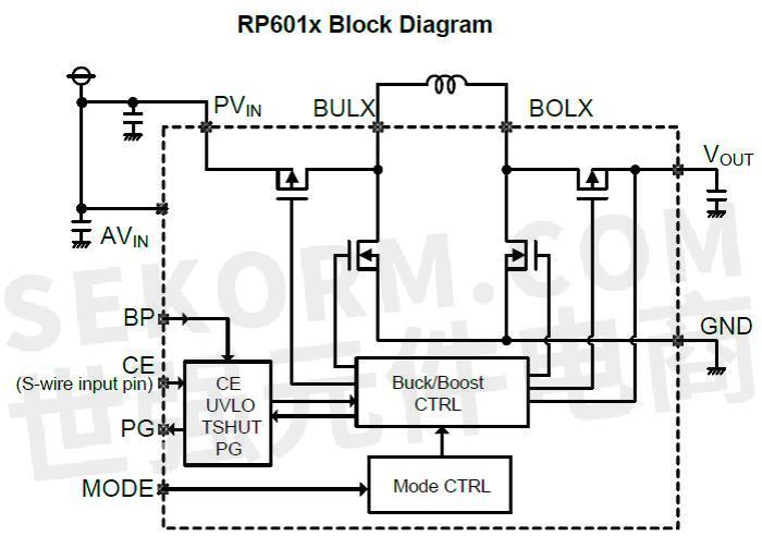 rp601x系列降压-升压型dc/dc转换器的内部由振荡器电路,参考电压单元