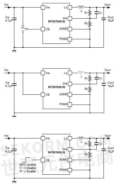 rp507k001b同步整流降压型dc/dc转换器的典型应用电路