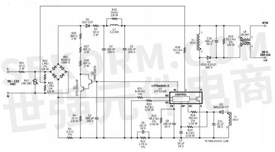 它具备功率因数校正,led电流控制和调光控制等功能.