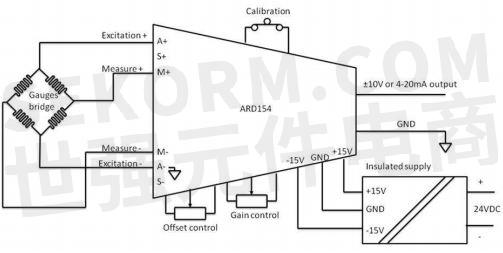 ard154惠斯通电桥放大器模拟量输出为±10v电压输出或 0/4—20ma电流