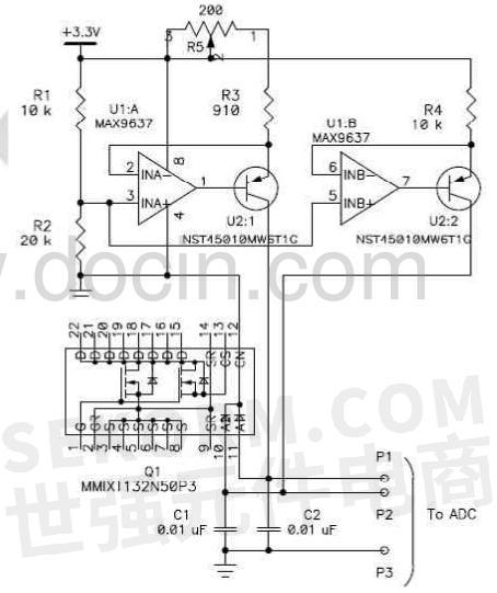 mmixt132n50p3包含两个可用于温度测量的压电二极管,可采用单端或差