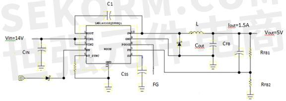 笔者设计的车载仪表dc-dc降压转换器电路见图4,使用的电源ic为lmr