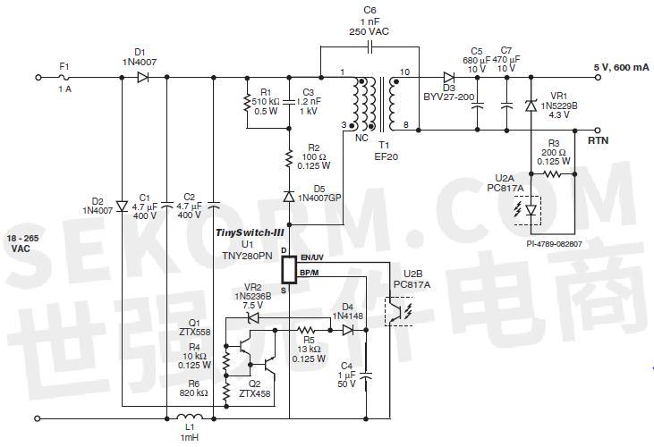 输出功率3w,输出电压5v,tinyswitch-Ⅲ离线式开关(具体型号ictny280pn