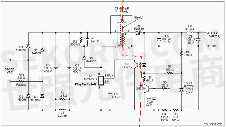 tny268pn典型应用电路