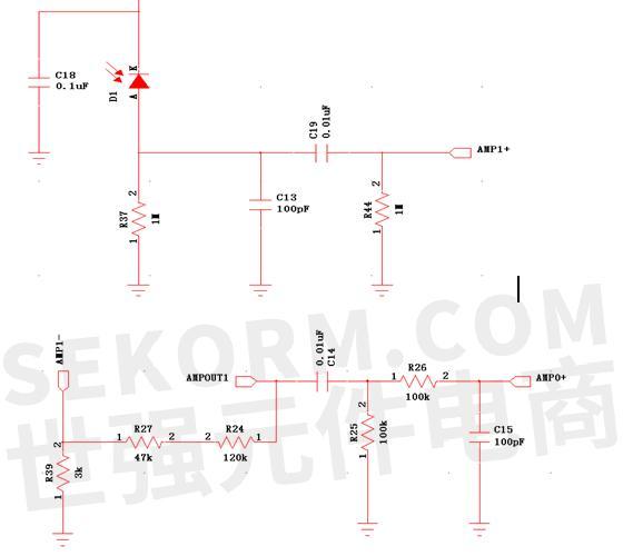 放大电路可参考如下图2线路图所示,传感器输出的小信号电压通过mcu的