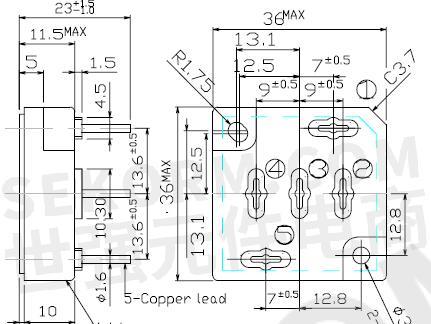 图2 三相整流桥模块s15atv80和s15atv60封装尺寸图