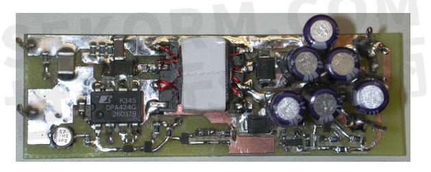 设计的24.5w电源电路板的顶视图