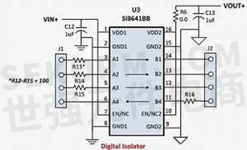 si8641bb-b-is1数字隔离芯片典型应用电路