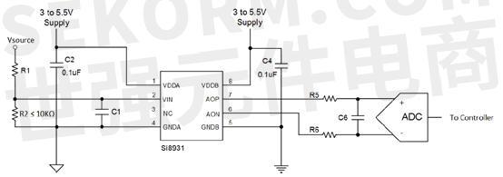 电路参考如下图3所示, 做单端电压采样时是利用两个分压电阻做设计,将