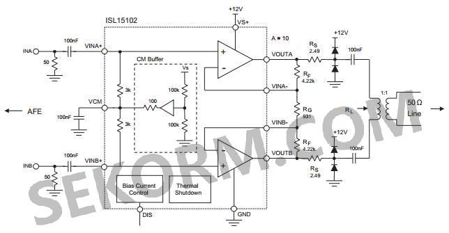 电流反馈放大器(cfa),如isl15102特别适合高输出功率,高带宽和差分