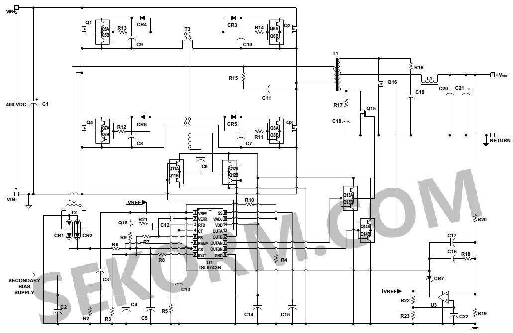 该芯片的典型应用电路如图3所示,主要应用于半桥,全桥,交错前向和推挽