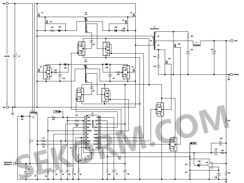 b) 高压输入次级侧控制的zvs全桥转换器