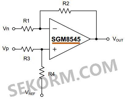 sgm8545有差分放大器,仪表放大器以及低通有源滤波器三种典型应用