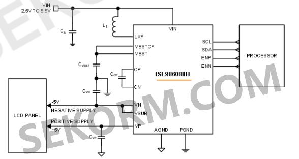 图一 isl98608iih典型应用电路