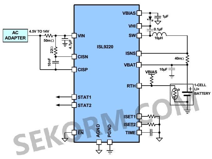 a)1节电池充电的应用电路