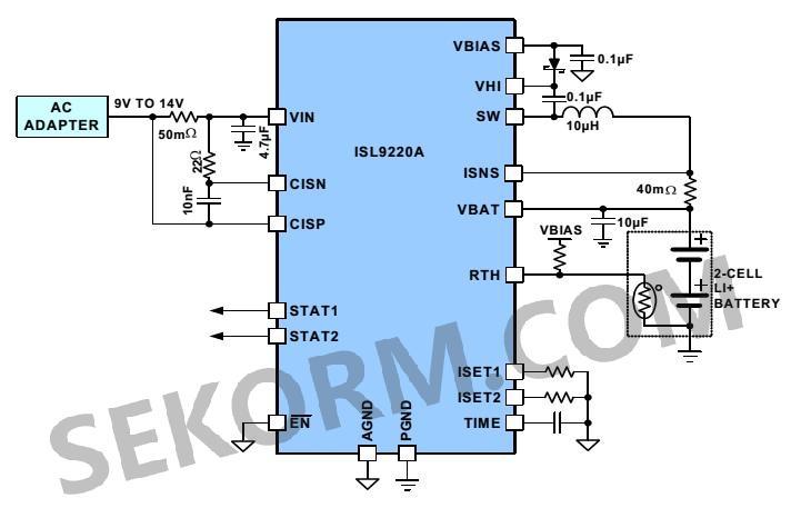 b)2节电池充电的应用电路