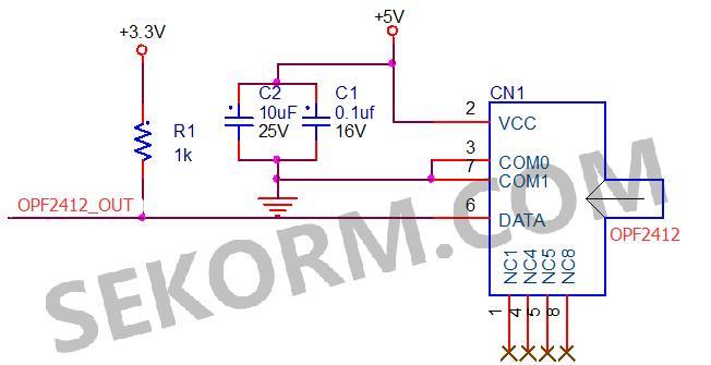 r1为集电极开路上拉电阻,r1阻值不能过小,导致输出为0时opf2412端输入