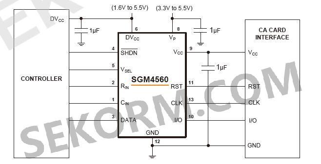 输出电压通过v sel引脚选择,提供高达200ma的负载电流,满足ca卡的驱动