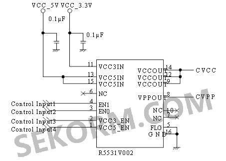 图二 r5531v002 典型应用电路一
